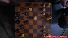 Celled bdsm sub masturbates with chess piece