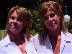 Hot busty twin blondes enjoy sex