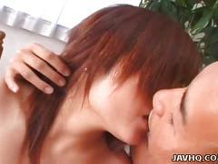 Redhead japanese teen enjoys fucking hard