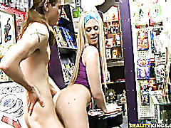 Mali sucks a mean one and gets it from her man as they earn cash in the comic book store.