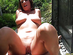 Jadda gets pounded from behind as her juicy ass and tits bounce.