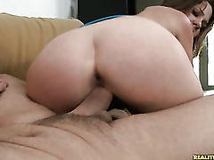 Claire rides a huge cock.