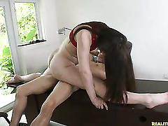 Angelcake rides that cock while her legs are doing a split and her big ass bounces around.