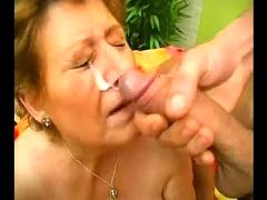 Chubby granny in glasses loves two cocks
