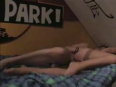 Horny amateur couple with hot action on waterbed