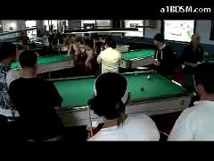 Bondaged girl with mouthgag getting her tits tortured pussy fucked with dong mouth fisted on the pool table in public