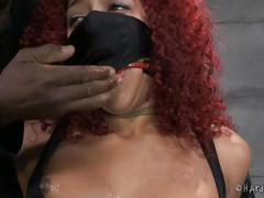 Mixed girl screams in bondage