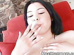 Cute horny girl fucking a big cock