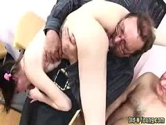 Two old teachers fucks young girl in school