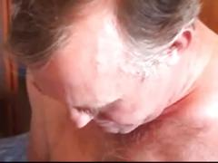 Filthy hairy daddies gulping for blowjob