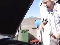 Auto shop sluts - sex skinny slut fucks old mechanic