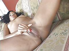 Black mom masturbates on couch