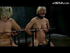 2 blonde girls mouth gags tied to fucking machine hit with stick screaming by mistress in the dungeon