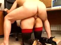 Young blonde busty secretary doggystyle anal fucked by boss