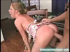 Tiny blonde rides huge cock