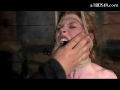 Redhead girl mouthgag tied to chair whipped pussy stimulated with vibrator throated by weight face slapped in the dungeon