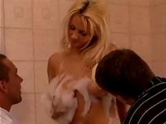 Milf with 2 men in bathroom