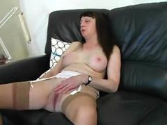 Mature milf in stockings fucks
