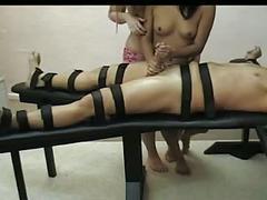 Two grils give femdom handjob