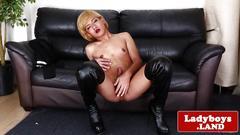 Blond ladyboy beauty wanking cock solo