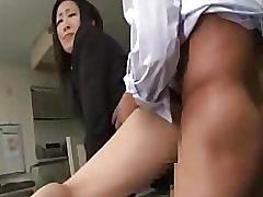 Japanese black suit office lady bukkake fuck