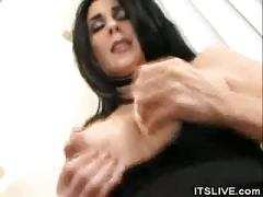 Stripped preggio babe sucks on two cocks