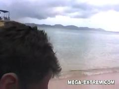 Public analsex on the beach by swinger couple