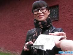 Publicagent russian creampied outdoors for cash