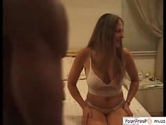 Cuckold wife gets jizzed by a black stud