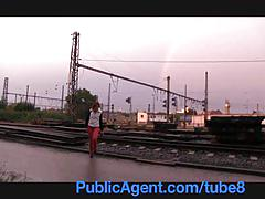 Publicagent redhead alice is fucked behind the train station