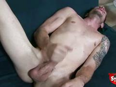 Broke straight boys - ricky jerking his big cock.