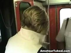 Blowjob in a train full of people