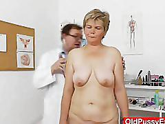 mature, oldpussyexam.com, bald vagina, enema, speculum, milf, nylons, huge boobs, perky nipples, fingering, granny, gilf