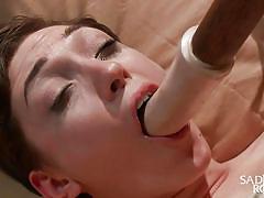 sadism, vibrator, upside down, brunette babe, dildo fuck, executor, tied on bed, rope bondage, sadistic rope, kink, lily labeau