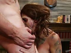 Redheaded tattooed slut takes a super hard pounding