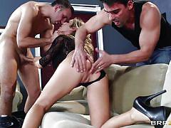 threesome, wife, blowjob, double penetration, from behind, blonde milf, couch fuck, clothes ripping, real wife stories, brazzers network, toni ribas, keiran lee, capri cavanni