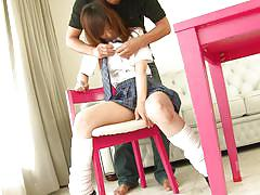 Naive schoolgirl being sexually used