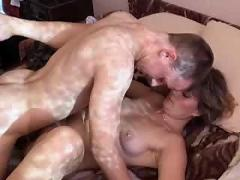 Blonde milf and young guy