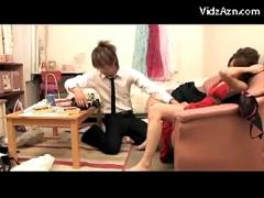 Asian girl in red dress getting her pussy fingered in doggy licked on the couch