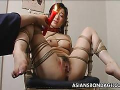 Asians bondage asian babe loves wax on her pus...