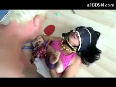 Girl with mouthgag net on head tied up in doggy getting her mouth and pussy fucked cum to net