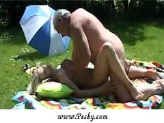 Old man enjoying huge boobs and young pussy