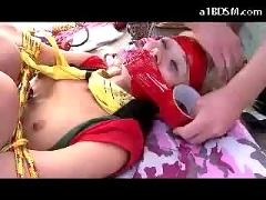 Blonde bondaged scout girl getting her nipples vacumed mouth strapped fucked facial in the booth