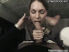 Teen sara gives blowjob in toilet