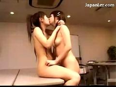 Asian girl getting rubbed with tits licked fingered on the desk in the classroom