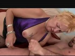 Old blonde granny in stockings fucks
