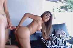 Big tits tranny gets anal fucked outdoors