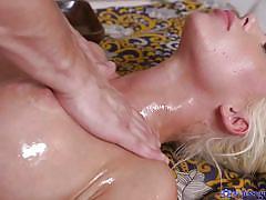 Blonde cutie gives a nice massage