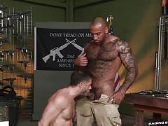 Tristan and daymin turn their gun-training into some raging sex @ gun show