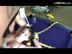 Girl with tied arms getting her pussy and mouth fucked cum to mouth on the pool table